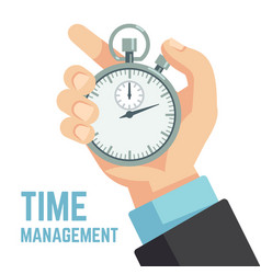 Businessman hand holding stopwatch or clock vector