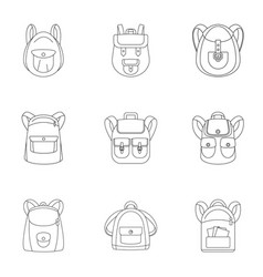 camping backpack icon set outline style vector image