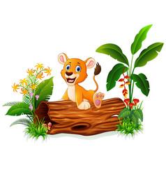 Cartoon baby lion sitting on tree trunk vector