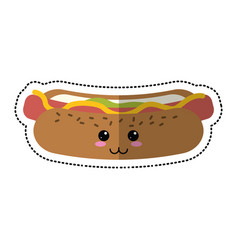 Cartoon hot dog fast food vector