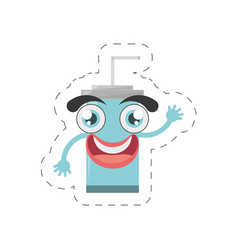 cartoon plastic cup soda straw cut line vector image