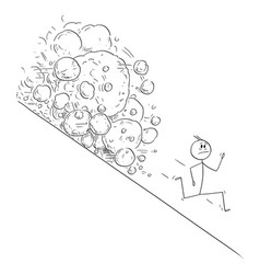 Cartoon stressed man or businessman running vector