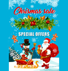 Christmas sale offer banner with santa and gift vector