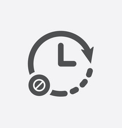 Clock icon with not allowed sign vector