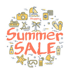 colorful icons in summer sale theme vector image