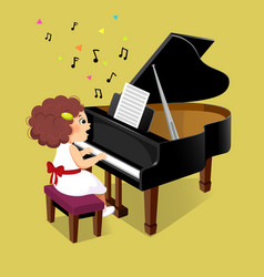 cute little girl playing grand piano vector image