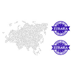 Dotted map of europe and asia and distress seal vector