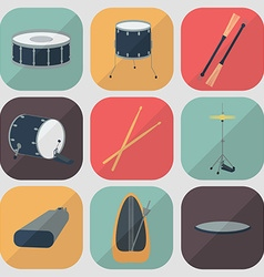 Drum flat icons Flat design Shadow vector