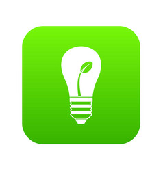 ecology idea bulb with plant icon digital green vector image