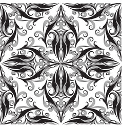 elegance damask seamless pattern black and white vector image