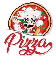emblem funny italian chef on pizza background vector image