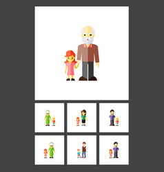 flat icon people set of boys father grandchild vector image
