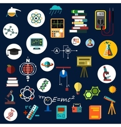 Flat physics science equipment and symbols vector image