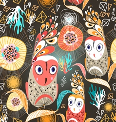 Floral pattern with owls vector