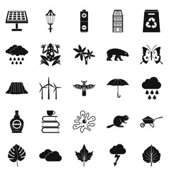 Foliage icons set simple style vector