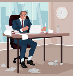 Furious businessman in office vector