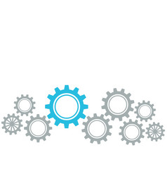 Gears border graphics grey and blue on white vector