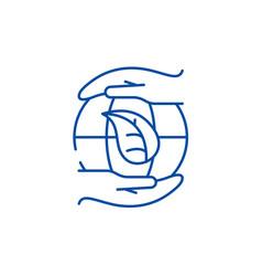 global energy saving technologies line icon vector image