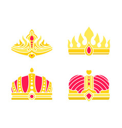 Golden heraldic crowns inlaid with gems vector