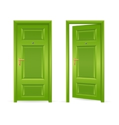 Green Door Open and Closed vector