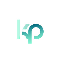 green gradient pastel modern kp k p alphabet vector image