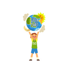 Green planet and cute happy boy save the planet vector