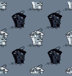 Grumpy waste bucket seamless pattern vector
