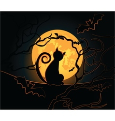 Halloween background with black cat vector image