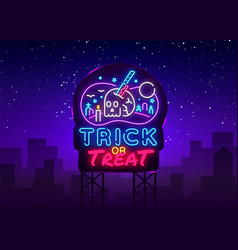 halloween neon sign trick or treat neon vector image