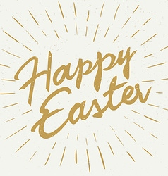 Hand drawn easter lettering golden greeting quote vector