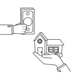Hand holding house vector