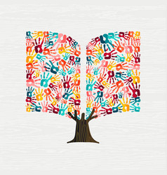 Hand tree concept in book shape for education vector