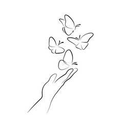 hand with butterfly on finger line art drawing vector image