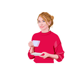 Happy woman in pink sweater holding a cup and vector