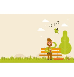 Hipster in Spring Background vector image