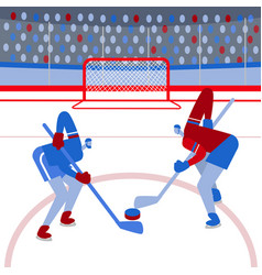 hockey players on the playing field flat style vector image