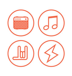 icon of rock music symbols vector image
