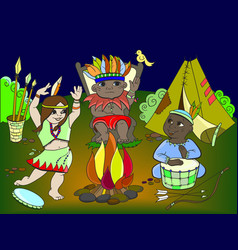 Indian tribe in the form of three children vector