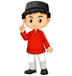 indonesian boy in red shirt vector image