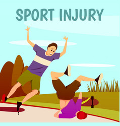 Injury to skaterboarders background vector