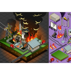 Isometric Fire Disaster in Coal Plant vector