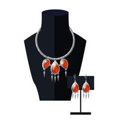 Jewelry set necklace precious red stones on black vector