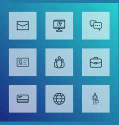 job icons line style set with work man chatting vector image