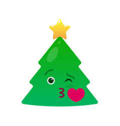 Kissing christmas tree isolated emoticon vector