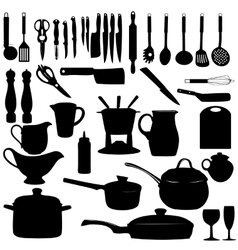 Kitchen tools Silhouette vector