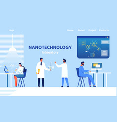 Landing page for modern nanotechnology laboratory vector