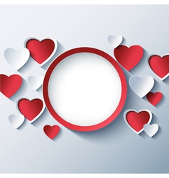 Love background Valentines day frame 3d heart vector image