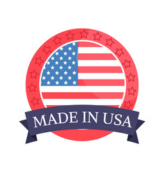 made in usa sticker with flag vector image