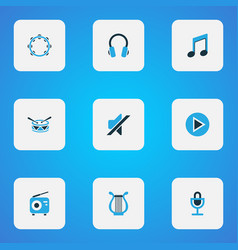 multimedia icons colored set with mike lyre vector image