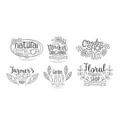 natural organic shop hand drawn badges set market vector image